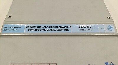 Rs Vector Signal Analyzer Option Fse-b7 Operating Manual Pn 1066.4323.19-05