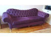 *Beautiful Bespoke Four (4) Seater Chesterfield-style Sofa in Purple Fabric*