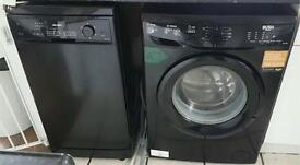 Black washing machine and dishwasher