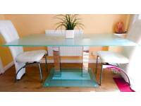 Stunning Modern Large Gl Dining Table With Mirror Legs 160x90cm High End