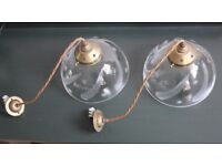Pair of glass pendant lights by Jim Lawrence, perfect condition.