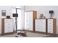 New white or black high gloss bedroom furniture bedside £49 chest £79 robe £139