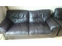 Brown leather settee x2