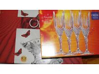 boxed sets of crystal bowls and glasses