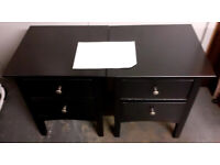 Pair if M&S Hastings style blk wooden bedsides with 2 drawers £65.00 p