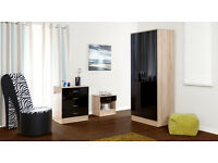 NEW 3piece bedroom set - wardrobe, chest of drawers, bedside - Various colours