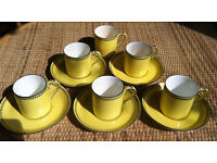 nice retro set of 5 / 6 Mocha - Demitasse cups and saucers by Crown Staffordshire, 1940's ?