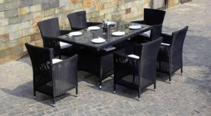 Wicker Outdoor Dining set full round wicker 7 Piece dining settin
