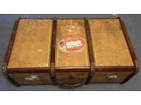 Vintage Antique Wooden Shipping Suitcase / Trunk