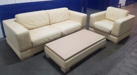 Tailor made Real Italian Leather Sofa Set with Table
