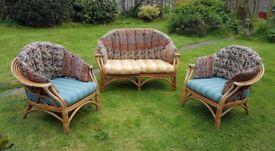3 Piece Cane Conservatory Furniture Set