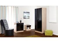 Black/Serrano oak 3 piece bedroom set - wardrobe, chest of drawers, bedside cabinet
