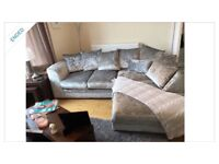 Crushed Velvet Silver Sofa with Chaise