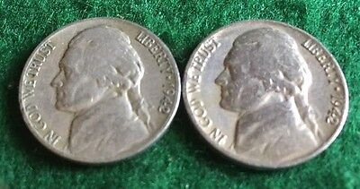 - 1942 P D JEFFERSON  NICKELS (2 coin set), Circulated