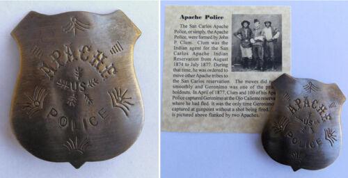 Apache Police Badge, old west, San Carlos, John Clum, western, antiqued brass