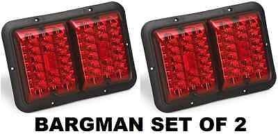 BARGMAN SET OF 2 (TWO) RED & RED LED RECESSED TAILLIGHT W/ BLACK BASE TRAILER RV