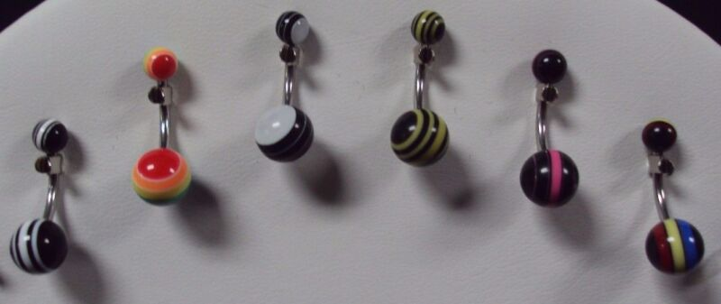 14 G 316L Surgical Steel Navel Belly Button Ring Bar Jewelry Stripe C Lot of 6