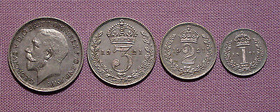 1921 ROYAL MINT KING GEORGE V SET MAUNDY COINS - 4d to 1d - LOW ISSUE