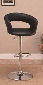 BLK LEATHER BARSTOOL AS NEW