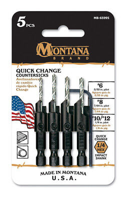 Montana Brand 5 Piece Quick Change Countersink Set #6,8,10 & 12 New Made in USA