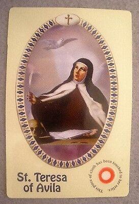 St Teresa of Avila 3rd class relic card