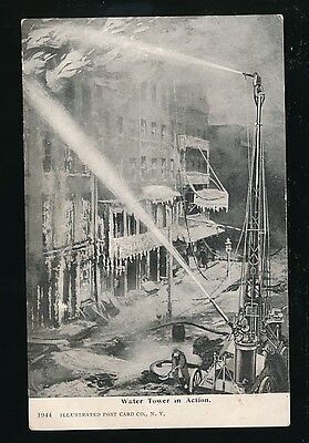 USA New York FIRE FIGHTING Water Tower in action c1902 u/b PPC