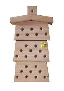 SOLITARY-MASON-BEE-HOUSE-3-TIER-BOX-HIVE-NESTER-CEDAR