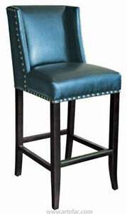 Bar Stool n Counter Stool in Blue Leather w/Silver Nailhead