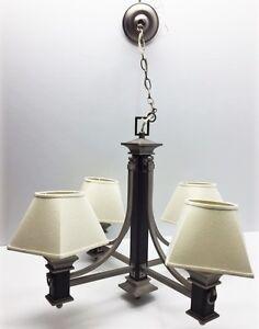 Luminaire suspendu 4 branches stainless et cuir à vendre