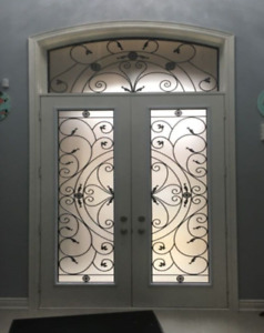 DOOR GLASS INSERT DECORATIVE GLASS WROUGHT IRON STAINED GLASS