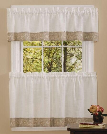 NEW - Oakwood Embroidered Linen Style Kitchen Curtain Window
