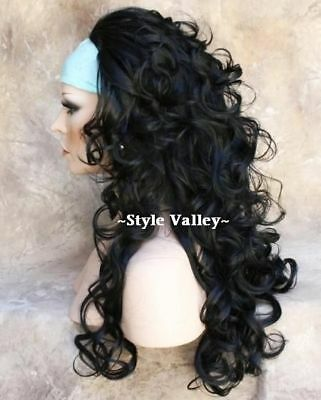 Black 3/4 Wig Fall Hairpiece Long Curly Layered Half Wig Hair Piece color #1 NWT