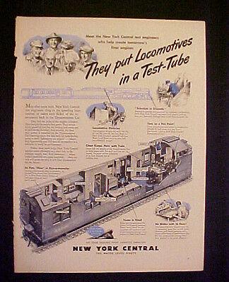 1945 WWII New York Central Railroad Train~Test Tube~Military Memorabilia Art AD