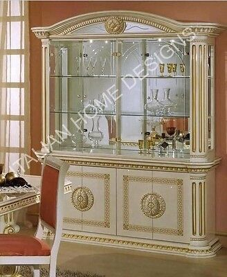 Versace Style Italian High Gloss 4 Door Display Cabinet in Ivory