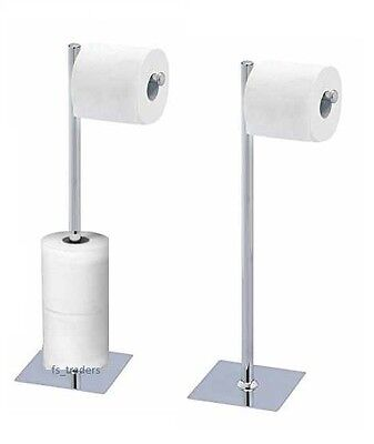 CHROME TOILET ROLL HOLDER STAND SWIVEL FREE STANDING HOLDS EXTRA ROLLS BATHROOM