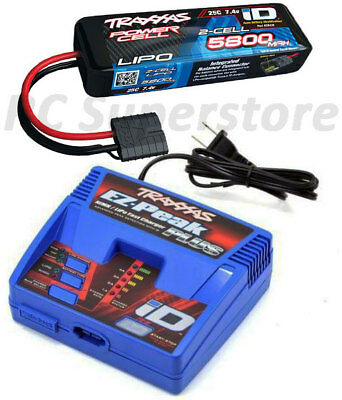 Traxxas Ez Peak Plus Lipo Charger   5800Mah 7 4V Id Battery Combo For Rustler