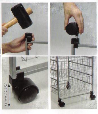 4 ROLLEN für Bürosessel Stapelkorb, Stapelkörbe, Gitterkorb, Wühlkörbe**Neuware
