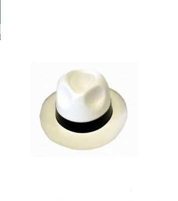 Micheal Jackson Hats (Unisex Al Capone White Gangster Hat Black Mob Fancy Dress Micheal Jackson)
