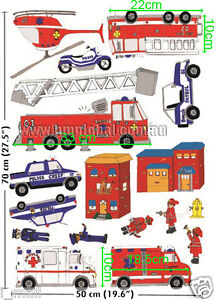 HELICOPTER, FIRE ENGINES, POLICE CARS...Kids Wall sticker for Kids room/Nursery