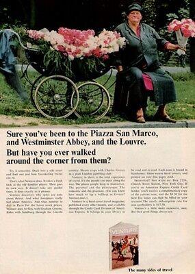1964 American Express Credit Card Selling Flowers Vintage Stroller  Print Ad