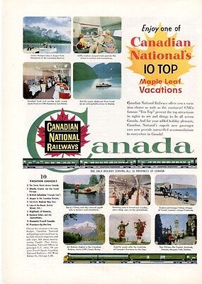 1955 Canadian National Railways PRINT AD Top Ten Canadian Vacation Destinations