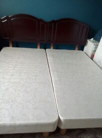 Two divan bed bases and headboards