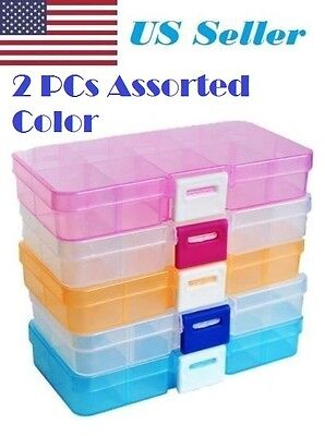 US Seller 2X Plastic 10Slots Adjustable Jewelry Storage Box Case Craft Organizer - Plastic Crafts