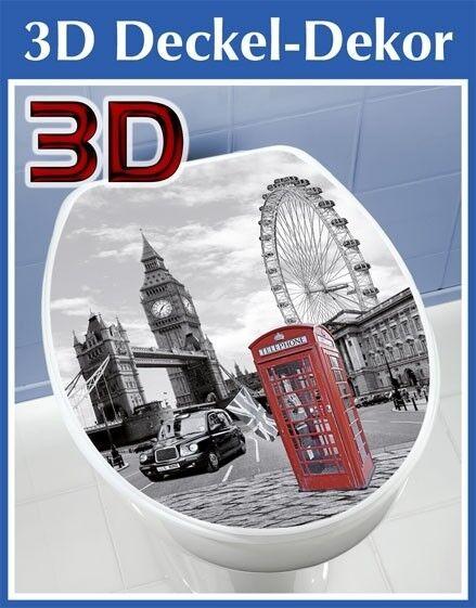 Wenko 3D Aufkleber WC Deckel Toilettendeckel Toilettendeckelaufkleber London TOP