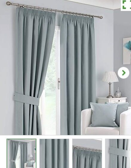 DUNELM MILL DUCK EGG THERMAL / BLACKOUT CURTAINS 90 X 90 (TWO ...