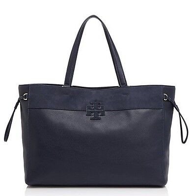 NWT TORY BURCH $495 TORY NAVY BLUE STACKED T TOTE BAG