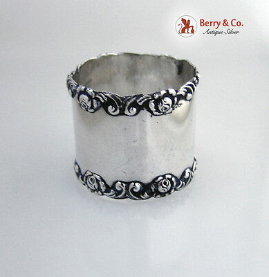 Rose And Scroll Sterling Silver Napkin Ring Wilcox 1905