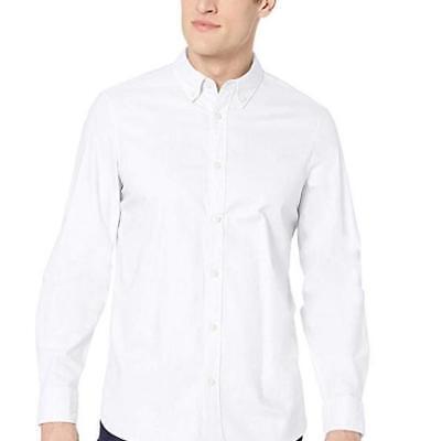 NWT Calvin Klein Men's Long Sleeve Stretch Casual Button Down Oxford Shirt White