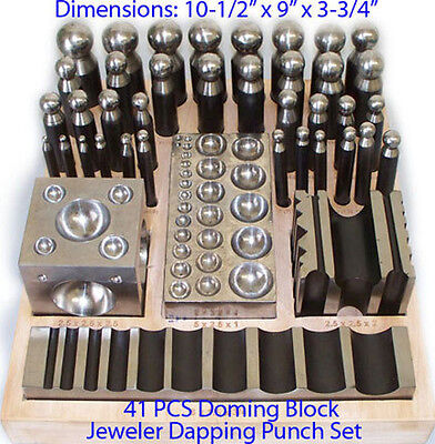 41 Piece Metal Forming Doming Dapping Punch Block Set Jewelry Craft Tool