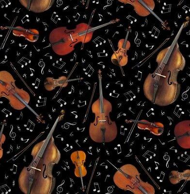 Jazz Fabric - Violin Cello Toss on Black - Elizabeth Studio YARD